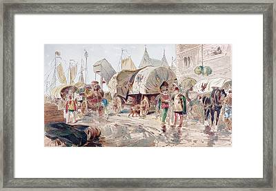 Horse Drawn Wagons Full Of Goods And Framed Print by Vintage Design Pics