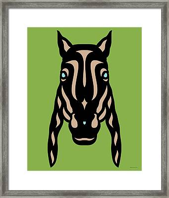 Horse Face Rick - Horse Pop Art - Greenery, Hazelnut, Island Paradise Blue Framed Print