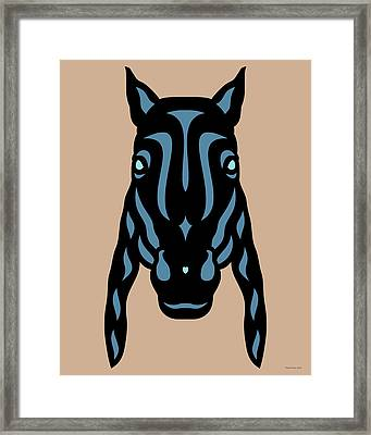 Horse Face Rick - Horse Pop Art - Hazelnut, Niagara Blue, Island Paradise Blue Framed Print
