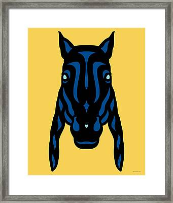 Horse Face Rick - Horse Pop Art - Primrose Yellow, Lapis Blue, Island Paradise Blue Framed Print