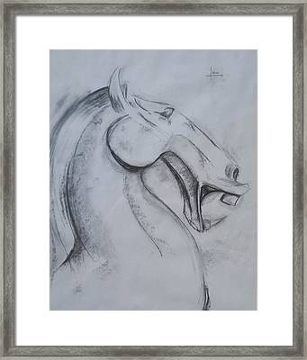 Horse Face Framed Print by Victor Amor