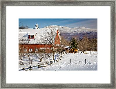 Horse Farm And Mount Mansfield Framed Print by Susan Cole Kelly