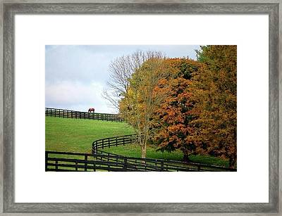 Horse Farm Country In The Fall Framed Print