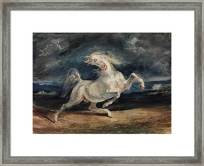 Horse Frightened By Lightning  Framed Print