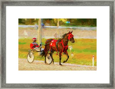 Horse, Harness And Jockey Framed Print