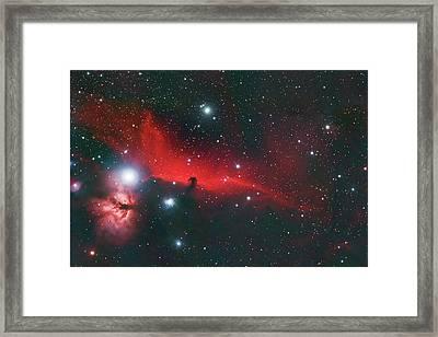 Horse Head And Flame Nebula Framed Print
