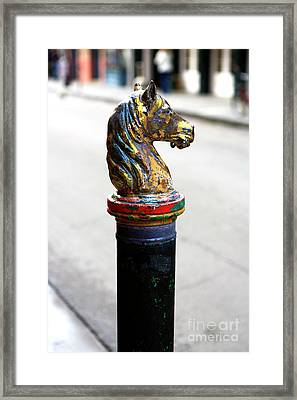 Horse Head Hitching Post Framed Print by John Rizzuto