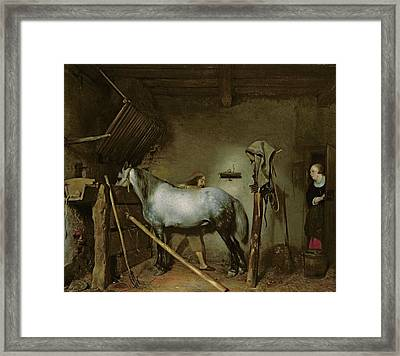 Horse In A Stable Framed Print by Gerard Terborch