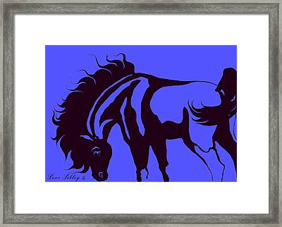 Framed Print featuring the digital art Horse In Blue And Black by Loxi Sibley