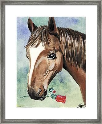 Horse In Love Framed Print