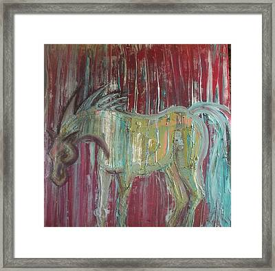 Horse In The Rain Framed Print