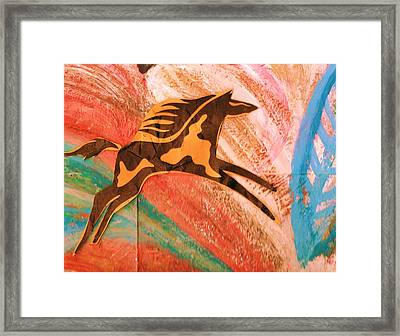 Horse Jumping Over Colors Framed Print by Anne-Elizabeth Whiteway