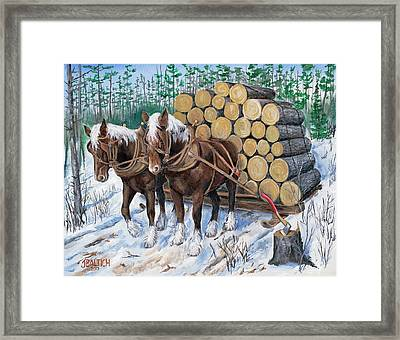 Horse Log Team Framed Print