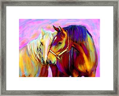 Horse Love Framed Print by Karen Derrico