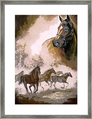 Horse Painting A Dream Of Running Wild Framed Print by Regina Femrite