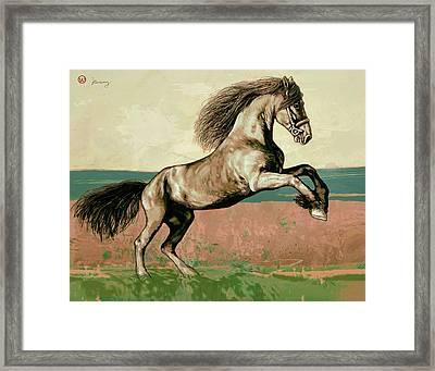 Horse Pop Art Poser Framed Print by Kim Wang