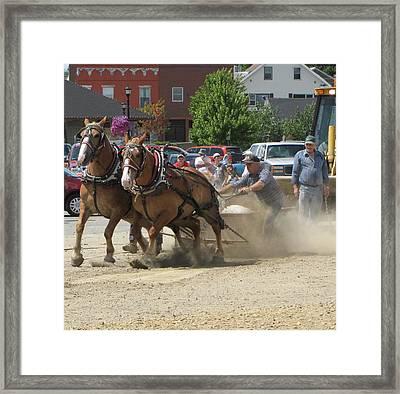 Horse Pull K Framed Print by Melissa Parks