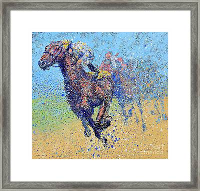 Horse Race On Blue Framed Print by Michael Glass