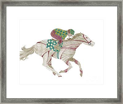 Horse Racer Framed Print by Amy Kirkpatrick