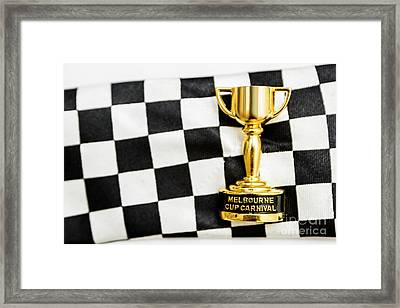 Horse Races Trophy. Melbourne Cup Win Framed Print