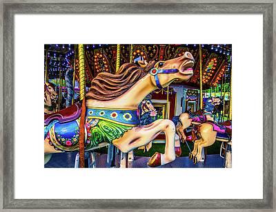 Horse Racing Carrousel Framed Print