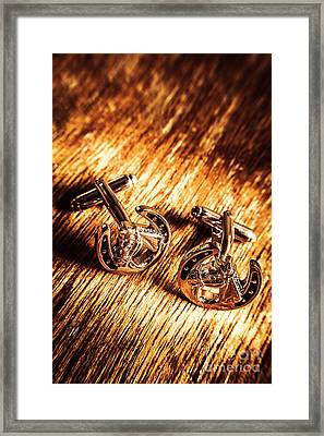 Horse Racing Cuff Links Framed Print