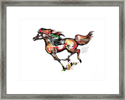 Horse Racing In Fast Colors Framed Print by Stacey Mayer