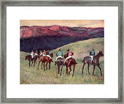 Horse Racing, The Training Framed Print by Edgar Degas