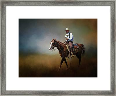 Framed Print featuring the photograph Horse Ride At The End Of Day by David and Carol Kelly