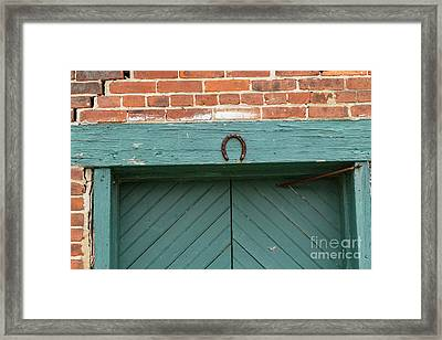 Horse Shoe On Old Door Frame Framed Print