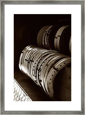 Horse Shoes In Sepia Framed Print by Angela Rath
