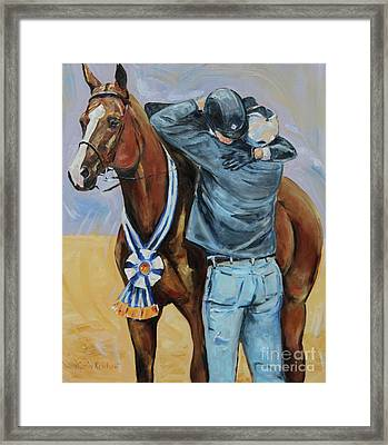 Horse Show Art, Equitation Champion Framed Print by Maria's Watercolor