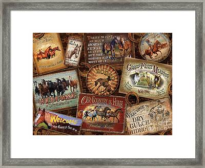 Horse Sign Collage Framed Print by Michelle Grant Cynthie Fisher JQ Licensing
