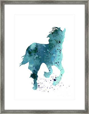 Horse Silhouette Minimalist Painting Framed Print