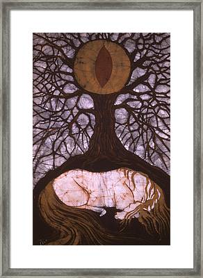 Horse Sleeps Below Tree Of Rebirth Framed Print