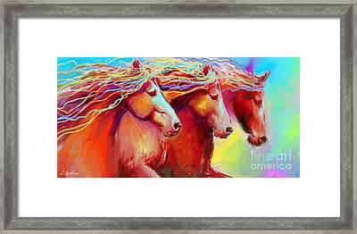 Horse Stampede Painting Framed Print