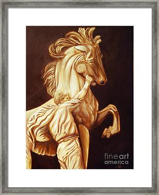 Horse Statue Framed Print by Nancy Bradley