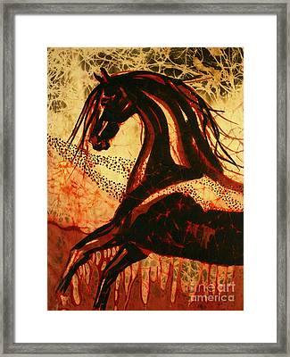 Horse Through Web Of Fire Framed Print by Carol Law Conklin