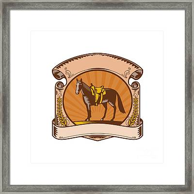 Horse Western Saddle Scroll Woodcut Framed Print by Aloysius Patrimonio