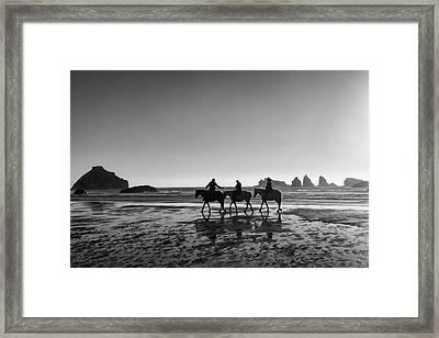 Horseback Storytelling Black And White Framed Print
