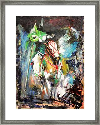 Horse,horseman And The Target Framed Print by Khalid Saeed