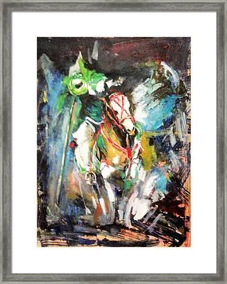 Horse,horseman And The Target Framed Print