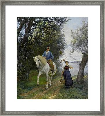 Horseman At A Lake Framed Print