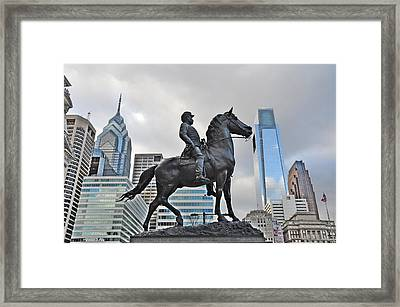 Horseman Between Sky Scrapers Framed Print by Bill Cannon