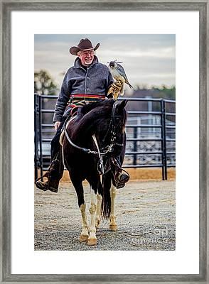 Horseman With Gyr Falcon 4731vt Framed Print by Doug Berry
