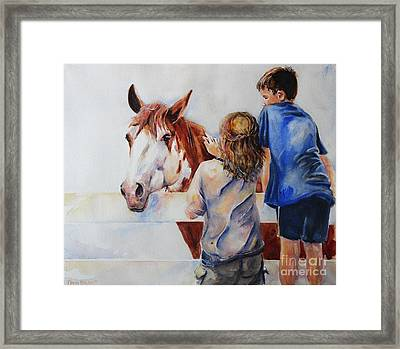 Horses And Children Painting Framed Print by Maria's Watercolor