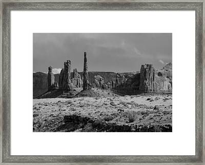 Horses And Monument Valley Framed Print