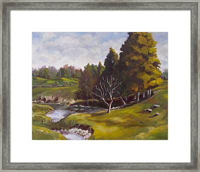 Horses At Pinecrest Framed Print by Diane Daigle