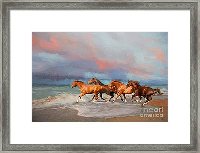 Horses At The Beach Framed Print by Mim White