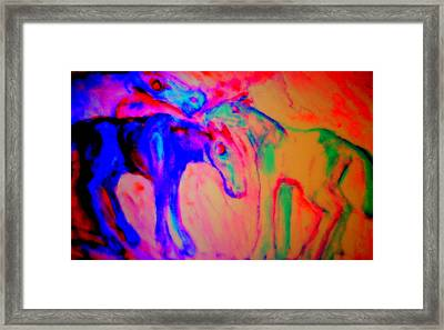 Horses Love Their Families Too  Framed Print by Hilde Widerberg
